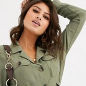 Free People Olive Heat Utility Button Dress Size S